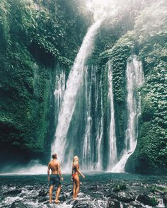 "LAUREN BULLEN on Instagram: ""Throwing it back to one of our first adventures together- Lombok  I've been using @fitazfk fitness guides to keep fit on the road, as most know it can be hard to have routine while travelling, hikes to waterfalls like these always help"""