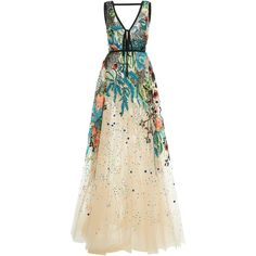 Elie Saab Bead Embroidered Tulle Gown ($14,400) ❤ liked on Polyvore featuring dresses, gowns, elie saab, long dresses, multi, embroidered dress, floral dresses, floral ball gown, plunging v neck dress and tulle ball gown
