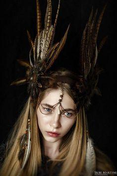 Feather Headband,Feather headdress,Feather indian crown,Shaman headdress,Woodland wedding Headband,C Indian Headband, Bohemian Headband, Feather Crown, Feather Headpiece, Decorative Beads, Pheasant Feathers, Wedding Headband, Bridal Hair, Woodland Wedding
