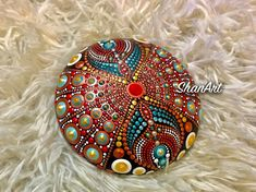 Acrylic dot Mandala on a handmade stone (plaster and cement Rock Painting Patterns, Dot Art Painting, Mandala Painting, Mandala Art, Stone Painting, Mandala Painted Rocks, Mandala Rocks, Painted Ornaments, Rock Crafts