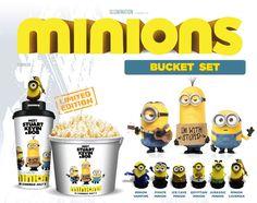 MINIONS 2015 Cinema 6 Style Figure Topper Movie Cup & Theater Popcorn Bucket Set | eBay