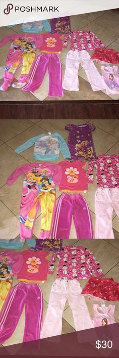 Girls 5T Clothing bundle Clothing lot Everything here is for 5T girls. Everything is worn and washed with no major flaws such as any tears. Bundle includes one Disney onesie, one adidas shirt, one adidas velour pant, one Levis corduroy pant, one Disney Elsa sweater, one Disney dress, one children's place pajama shirt, one skirt and one Disney tank Other