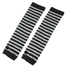 Thumbless Fingerless Knitted Arm Long Striped Gloves Warmers Black Gray Pair *** Check out this great product.
