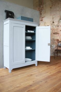 Victoire l'armoirette - lapetitebelette | freestanding kitchen cupboard with dark interior and light exterior
