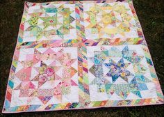 A scrappy swoon quilt. Really love the striped sashing. Quilting Tutorials, Quilting Projects, Quilting Designs, Quilting Ideas, Quilt Design, Sewing Projects, Star Quilts, Scrappy Quilts, Girls Quilts