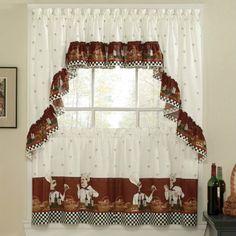 Savory Chefs Kitchen Curtains - Ruffled Valance for sale online Kitchen Window Curtains, Curtains And Draperies, Drapes Curtains, Valance, Bistro Kitchen Decor, Fat Chef Kitchen Decor, Kitchen Themes, Cortinas Country, Kitchen Organization
