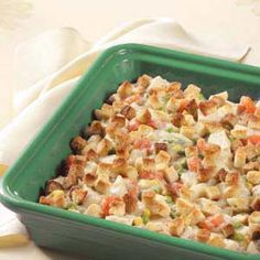 Hearty Veggie Chicken Casserole Recipe -I found this recipe in a cookbook we received as a wedding gift and altered it to fit my family's tastes. Now, I always cook enough extra chicken so we can have this casserole the next day. My husband and daughters rush to the table when they know it's on the menu. –Janet Applin, Gladstone, Michigan