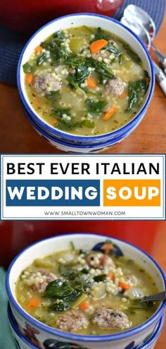 This easy Italian Wedding Sopu recipe makes a great comfort food for the cold weather! It is made with delicious pork and beef meatballs onions carrots celery garlic spinach and pasta in a deliciously seasoned broth. Save this pin for Thanksgiving dinner! Italian Wedding Soup Recipe, Italian Soup, Italian Recipes, Wedding Soup Meatball Recipe, Italian Desserts, Best Soup Recipes, Dinner Recipes, Healthy Recipes, Cheap Recipes