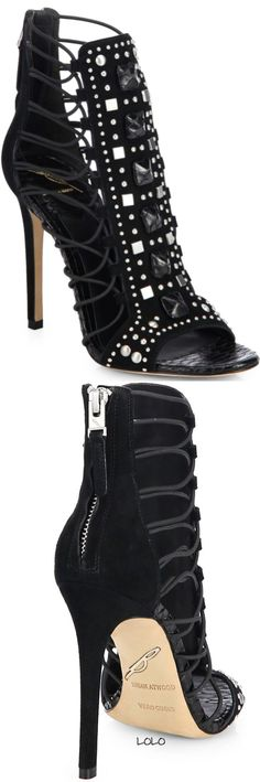 B Brian Atwood Studded Suede Strappy Sandals Fall 2014 #BrianAtwood #Shoes #Heels