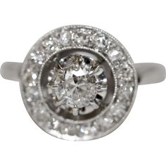 Fine Antique French Platinum old cut diamond halo engagement ring - circa 1915 from Elizabeth Rose Antique on RubyLane.com