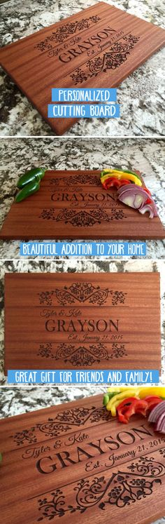 Our Personalized Large Mahogany Cutting Boards are absolutely stunning. Hand crafted from solid mahogany and beautifully laser engraved, these cutting boards will be the showpiece of your kitchen. Our new Grayson design adds the perfect balance of class and beauty. Customize with the couple's first names, last name, last initial, and anniversary. They make beautiful gifts for family and friends!