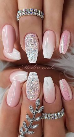 cute-gel-nails-pink-white-glitter-chrome-ombre-nail-polish-silver-rings-with-rhinestones