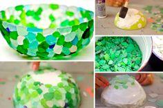 Fabriquez un magnifique bol en morceaux de verre polis