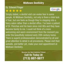 Simply stated, a dentist visit can evoke fear in some people. At Midtown Dentistry, not...