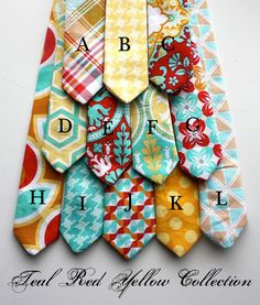 """Little Guy Spring EASTER Necktie Tie - Teal Red Yellow Collection by Petite Peanut.    <a class=""""pintag"""" href=""""/explore/Wedding"""" title=""""#Wedding explore Pinterest"""">#Wedding</a> <a class=""""pintag"""" href=""""/explore/Easter"""" title=""""#Easter explore Pinterest"""">#Easter</a> <a class=""""pintag"""" href=""""/explore/Spring"""" title=""""#Spring explore Pinterest"""">#Spring</a>"""