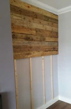 Pallet Furniture Projects Pallet Wall Living Room Pallet Projects Pallet Walls - Got the pallet wood from builders at a construction site near our home. Then, I've simply done a little bit of sanding and staining with specific finishing wood oil. Wooden Pallet Wall, Wooden Pallets, Pallet Walls, Pallet Wall Bedroom, Pallet Shelves, Pallet Ideas For Walls, Wooden Pallet Ideas, Wooden Doors, Pallet Accent Wall