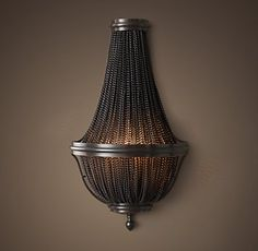 """RH's 19th C. French Empire Chainmail 16.75"""" Sconce - Bronze:A veil of beaded iron chains transforms the aesthetic of a c. 1800 French light in an industrial direction, while preserving its elegant shape. The bowl design casts diffused, soft light for an ambient glow."""