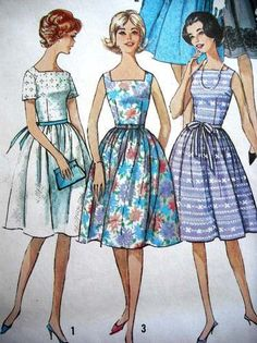 VINTAGE FIT & FLARE COCKTAIL & SWING DRESS WOMENS SEWING PATTERN SIMPLICITY B33