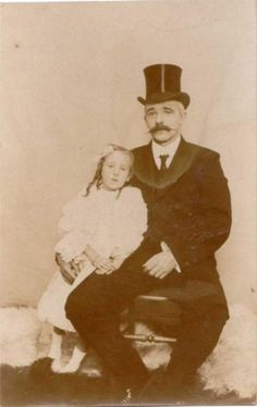 Edwardian Girl With Daddy Black TOP HAT OLD Real Photo Postcard