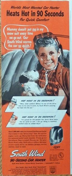 South Wind Car Heater  print ad  Color Illustration  young girl mand puppie  1947 Magazine Art