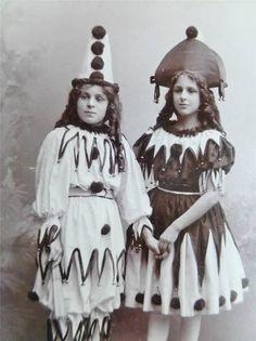 Antique CDV Fine old Photo c1900 Two Pretty GIRLS Clown Costumes Long Curls