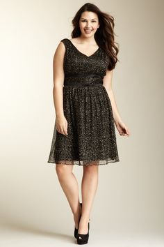 So pretty:)  Pleated Print Cocktail Dress - Plus Size by Jessica Simpson on @HauteLook