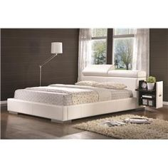 Maxine Leather Upholstered King Bed with Pull-Out Drawer