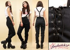 80s 90s Vtg CORSET Lace Up High Waisted SUSPENDER Skinny Jeans / Tapered Denim Pants / Fredericks of Hollywood Grunge Oi Punk / Deadstock