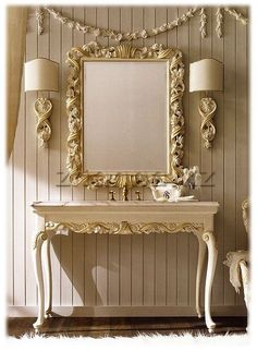 Luxurious Italian and Gold Bathroom Basin. A statement piece for any bathroom, bedroom or washroom. Shown here in an antiqued ivory with hand painted detailing. Italian Furniture, French Furniture, Luxury Furniture, Home Furniture, Furniture Design, Wooden Furniture, Gold Bathroom, Bathroom Basin, Washroom