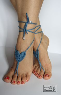 Blue Jeans HEART Crochet BAREFOOT Sandals, steampunk, victorian lace, sexy, yoga, anklet ,wedding, beach or pool party- Ready to Ship. $14.00, via Etsy.