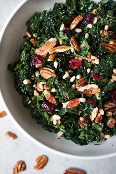 Chopped Kale Salad with Pecans, Cranberries and Herb Dressing 13 Thanksgiving Salads That Will Have Your Guests Begging For Kale Salad Recipes, Salad Dressing Recipes, Kale Salads, Chopped Salads, Avocado Recipes, Healthy Salads, Healthy Eating, Healthy Recipes, Eating Clean