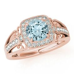 Cyber Monday, 6.5mm Aquamarine & Diamond Halo Vintage Inspired Engagement Ring 14k Rose Gold, Anniversary Gifts for Women, Engagement Rings