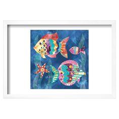 Boho Reef Fish II Framed Poster, Blue