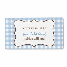 From the kitchen of blue gingham custom label custom shipping label