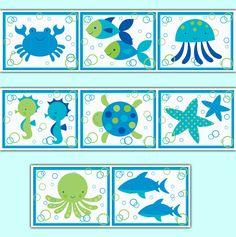 Sea Life Baby Nursery Ocean Creatures Wallpaper Border Wall Art Decals Stickers #decampstudios