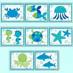 Sea Life Baby Nursery Ocean Creatures Wallpaper Border Wall Art Decals Stickers #decampstudios