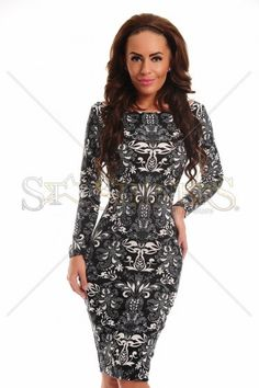 StarShinerS Fantasy Black Dress, print details, form-fitting, long sleeves, slightly elastic fabric Trendy Colors, Female Bodies, Fall Outfits, Bodycon Dress, Fantasy, Long Sleeve, Sexy, Skirts, Sleeves
