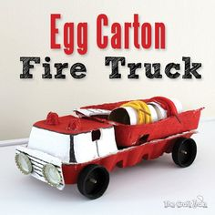Make an egg carton fire truck from recyclables. This fire truck craft is a fun DIY toy with spinning wheels that can inspire imaginary play. Craft Activities For Kids, Toddler Activities, Projects For Kids, Diy For Kids, Crafts For Kids, Craft Ideas, Fire Truck Craft, Truck Crafts, Egg Carton Crafts