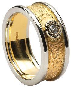 Diamond Set Celtic Shield Wedding Band with Rims