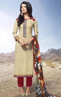 Picture of Elegant Biscuit Cream Color Culture Salwar Kameez