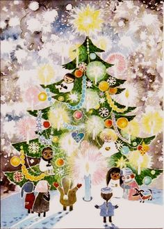 Tove Jansson Unicef or Amnesty Christmas card via Moomin.pl: http://moomin.pl/2012/12/05/tove-janson-unicef-and-amnesty-postcards/