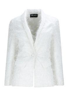 White feathered fabric jacket BY NEHA TANEJA. Shop now at: www.perniaspopups... #perniaspopupshop #designer #stunning #fashion #style #beautiful #happyshopping #love #updates