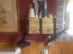 Blow Dryer and curling iron holder unstained . Curling Iron Storage, Curling Iron Holder, Organizing, Organization, Old Pallets, Dryer, Storage Ideas, Wine Rack, Diy Projects