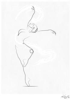 ladybug tattoo Designs Tat is part of Ladybug Tattoo Designs Ideas Design Trends - 'Unfurl', Dancer Line Drawing Art Print by Kerry Kisbey Life Drawing, Figure Drawing, Painting & Drawing, Dancer Drawing, Painting Canvas, Ballet Dancer Tattoo, Ballet Tattoos, Ballerina Tattoo, Ballerina Sketch