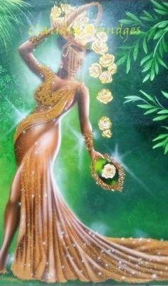 Black Girl Art, Black Women Art, Black Art, Art Girl, African American Art, African Art, Oshun Goddess, Yoruba Religion, African Goddess