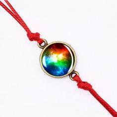 Colorful Nebula Bracelet Red Cord Bracelet Solar by ManzukoJewelry
