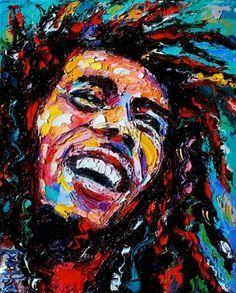 Painting Portrait of Bob Marley Reggae music art by Debra Hurd, painting by artist Debra Hurd
