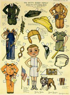 Bobby Bobbs paper doll by Orpha Klinker Vintage Paper Dolls, Antique Dolls, Paper Art, Paper Crafts, Paper Doll House, Paper Dolls Printable, Paper People, Barbie, Paper Toys