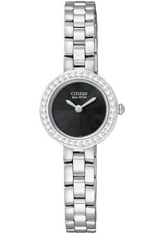 Price:$141.93 #watches Citizen EX1080-56E, Stainless steel case. Black dial. Crystal set around the bezel. Scratch resistant mineral crystal. Water resistant. Eco-Drive movement gathering power from any available light. Case measures 21mm diameter by 7mm thick. Jewelery clasp.