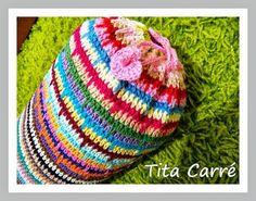 Almofada Cilindro Multi colorido em crochet